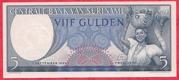 Surinam 1 Billet De  5 Gulden Du 01/09/1963  Dans L 'état Lot N °2 - Surinam