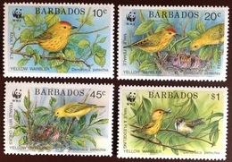 Barbados 1991 WWF Warbler Birds MNH - Oiseaux