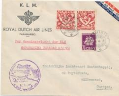 Suriname - 1939 - 3 Zegels Op LP-cover KLM Openingsvlucht Paramaribo - Willemstad - Suriname ... - 1975