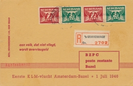 Nederland - 1946 - Strip Vliegende Duif Op R-LP-cover Met 1st Flight Amsterdam - Bazel / Schweiz - Luftpost