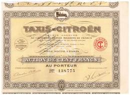 Titre Ancien - Taxis-Citroën Société Anonyme - Titre De 1924 - Automobile