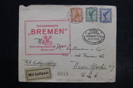 ALLEMAGNE - Enveloppe De Köln Pour New York Par Le Bremen , Cachet Catapulte En 1929 - L 28487 - Storia Postale