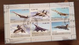 MOZAMBIQUE Histoire De L'aviation 6, Avions, Concorde, Tupolev,  BF 6 Valeurs émises En 2009. Bloc Oblitéré (used) - Flugzeuge