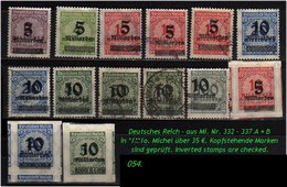 Deutsches Reich - Aus Mi. Nr. 332 - 337 - Deutschland