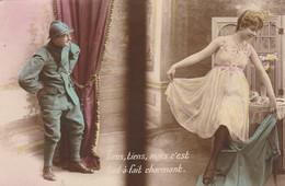 Militaria : Fantaisie : Soldat Admiratif Devant Une Prostituée : Expéd. Belfort ( Colorisée ) - War 1914-18