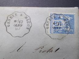 Marcophilie  Cachet Lettre Obliteration - Convoyeur Genéve à Mâcon - 1887 (2412) - Postmark Collection (Covers)