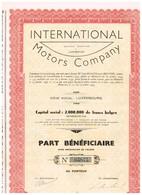 Titre Ancien - International Motors Company -  Société Anonyme - Titre De 1939 - Automobile