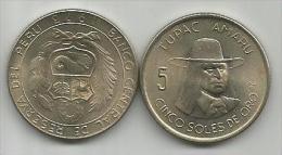 Peru 5 Soles De Oro 1973. Tupac Amaru High Grade - Peru