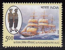 India MNH 2010, 16th Punjab (2nd Patiala) Defence Sailing Ship, - Nuevos