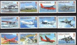 Falkland Islands 2008 Aircraft Definitives Set Of 12, MNH, SG 1096/1107 - Falkland Islands