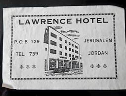 HOTEL LAWRENCE JERUSALEM JORDAN JORDANIE ETIQUETTE LUGGAGE LABEL ETICHETTA ETIQUETA - Hotel Labels