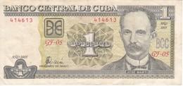 BILLETE DE CUBA DE 1 PESO DEL AÑO 2005  (BANK NOTE)  JOSE MARTI - Cuba