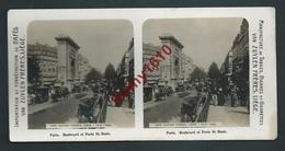 Paris. Photo Stéréoscopique. Boulevard Et Porte St. Denis.  Au Dos,  Publicité Café, Van Zuylen, Tabacs, Cigares, Liège. - Stereoscopic
