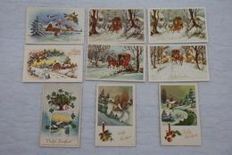 KERSTFEEST (Noël) - Geanimeerde Zichten / Paysages Animés - Een Geheel Van 9 Kaarten / Ensemble De 9 Cartes - Année '60 - Noël