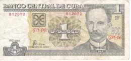 BILLETE DE CUBA DE 1 PESO DEL AÑO 2007  (BANK NOTE)  JOSE MARTI - Cuba