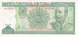 BILLETE DE CUBA DE 5 PESOS DEL AÑO 2007 DE ANTONIO MACEO  (BANKNOTE) - Cuba
