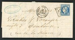 """N° 45A 20c Bleu Type 2 Report 1 (belles Marges), Obl GC + C-à-d (T17) """"Carcassonne 21/12/1870"""" Sur Lettre Pour Toulouse - Marcophilie (Lettres)"""