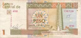 BILLETE DE CUBA DE 1 PESO CONVERTIBLE DEL AÑO 2016  (BANKNOTE) - Cuba