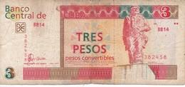 BILLETE DE CUBA DE 3 PESOS CONVERTIBLES DEL AÑO 2006  (BANKNOTE) CHE GUEVARA - Cuba