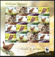 Falkland Islands 2009 WWF Endangered Species, Cobb's Wren Bird Sheetlet Of 16, MNH - Falkland Islands