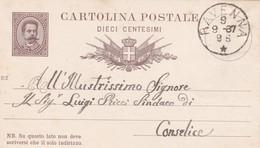 INTERO POSTALE CENT. 10 - REGNO - RAVENNA - VIAGGIATA PER CONSELICE ( RAVENNA) - 1878-00 Humbert I