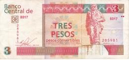 BILLETE DE CUBA DE 3 PESOS CONVERTIBLES DEL AÑO 2016  (BANKNOTE) CHE GUEVARA - Cuba