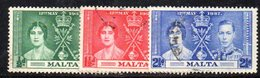 APR861 - MALTA 1937 , Giorgio VI  Serie Unificato N. 175/177  (2380A) .  Incoronazione - Malta