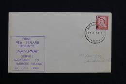 "NOUVELLE ZÉLANDE - Enveloppe  1 Er Vol  "" Manu Wai ""  Auckland / Waiheke Island En 1964 - L 28492 - Nouvelle-Zélande"
