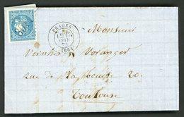 """N°45B 20c Bleu Type 2, Report 2. Obl GC 3014 + C-à-d (T17) """"Prades 17/02/1871"""" Sur Lettre Pour Toulouse. Cote 135 € - 1849-1876: Classic Period"""