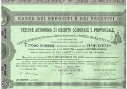 Titre Ancien - Cassa Dei Depositi E Dei Prestiti -Sezione Autonoma Di Credito Comunale E Provinciale - Roma 1944 - Banque & Assurance