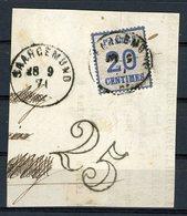 """N°6 20c Bleu, Obl C-à-d """"SAARGEMUND 28/9/71"""" Sur Un Fragment + La Taxe Tampon 25 - Alsazia-Lorena"""