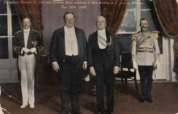 US President Taft Meets Mexico President Diaz In C. Jaurez Mexico 1909, C1900s Vintage Postcard - Personnages