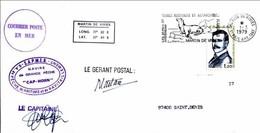 FSAT TAAF Navire De Grande Peche Cap Horn SAPMER 01.03.79 Martin De Vivies. Ralier Du Baty - Covers & Documents