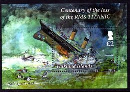 Falkland Islands 2012 Shipwrecks RMS Titanic MS, MNH - Falkland Islands