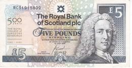 BILLETE DE ESCOCIA DE 5 POUNDS DEL AÑO 2005  (BANKNOTE) CONMEMORATIVO 500 YEARS ROYAL COLLEGE EDINBURGH - [ 3] Escocia