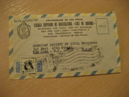 PIRACICABA 1969 To New York USA Escola Agricultura Luiz De Queiroz Cancel Air Mail Cover BRASIL Brazil Agriculture - Agriculture