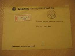 ZVOLEN 1975 Agrotechnika Cancel Registered Cover CZECHOSLOVAKIA Agriculture - Agriculture
