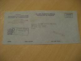 OTTAWA 1971 Dep. Ministere Agriculture Postage Paid Cancel Registered Air Mail Cover CANADA Agriculture - Agriculture