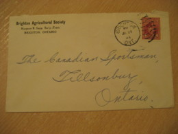 BRIGHTON 1944 To Tillsonburg Agricultural Society Advertising Cover Cancel CANADA Agriculture - Agriculture