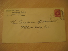 BEAMSVILLE 1944 To Tillsonburg Clinton And Louth Agricultural Society Advertising Cover Cancel CANADA Agriculture - Agriculture