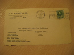 WINNIPEG 1926 FG Wright Farm Sleighs Grain Tanks ... Advertising Front Cover Cancel CANADA Agriculture - Agriculture