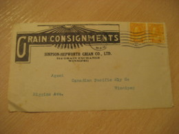 WINNIPEG 1928 Grain Consignments Advertising Front Cover Cancel CANADA Agriculture - Agriculture