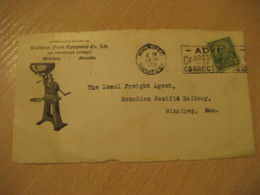 WINNIPEG 1929 Cushman Farm Equipment Viking Advertising Front Cover Cancel CANADA Agriculture - Agriculture