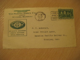 WINNIPEG 1927 Farmers Friend Fencing The Sarnia Fence Co. Advertising Front Cover Cancel CANADA Agriculture - Agriculture