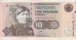 BILLETE DE ESCOCIA DE 10 POUNDS DEL AÑO 1999 CLYDESDALE BANK (BANKNOTE) - [ 3] Escocia