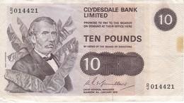 BILLETE DE ESCOCIA DE 10 POUNDS DEL AÑO 1975 CLYDESDALE BANK (BANKNOTE) - [ 3] Scotland