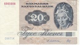 BILLETE DE DINAMARCA DE 20 KRONER DEL AÑO 1972 (BANK NOTE) - Dinamarca
