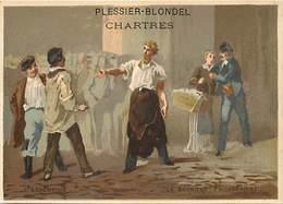- Chromos -ref-ch666- Plessier Blondel - Chartres - Bonneterie - Ganterie - L Assommoir - Zola -la Barriere Poissonniere - Other
