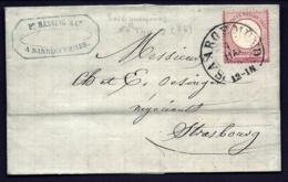 LETTRE ALSACE-LORRAINE OCCUPATION- SAREGEMUND POUR STRASBOURG- TIMBRE N° 16- CAD FER A CHEVAL 1874- 3 SCANS + INFO - Storia Postale