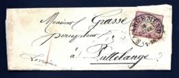 LETTRE ALSACE-LORRAINE OCCUPATION- SAREGEMUND POUR STRASBOURG- TIMBRE N° 16- CAD FER A CHEVAL 1872- 3 SCANS + INFO - Storia Postale